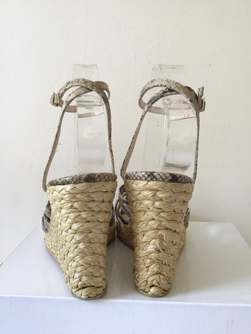 LK BENNETT BROWN & BEIGE SNAKESKIN LEATHER STRAP WEDGE HEEL SANDALS SIZE 7/40