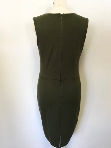 MICHELLE KEEGAN FOR LIPSY KHAKI GREEN PENCIL DRESS SIZE 14