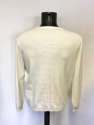 HUGO BOSS IVORY & GREY STRIPED FRONT LONG SLEEVE JUMPER SIZE 44
