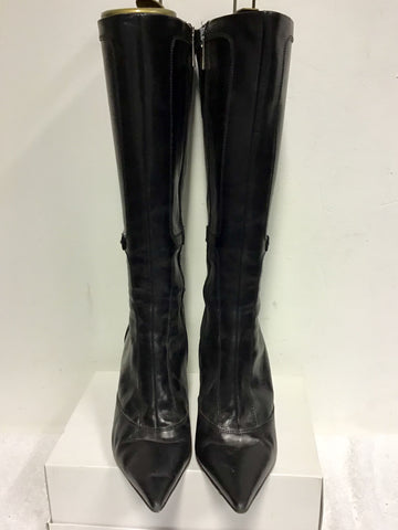 KAREN MILLEN BLACK LEATHER & HORSE BIT TRIM BOOTS SIZE 6/39