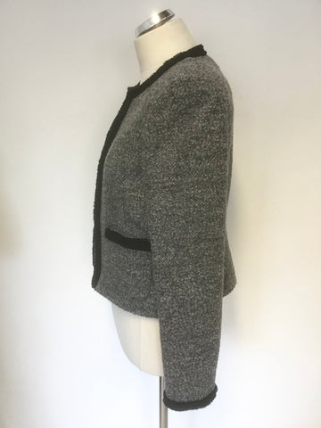 BRAND NEW LK BENNETT GREY & BLACK TRIM BOX JACKET & PENCIL SKIRT SUIT SIZE 12