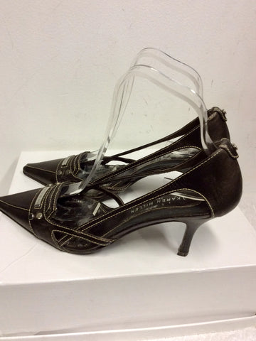 KAREN MILLEN BROWN LEATHER OPEN SIDE HEELS SIZE 5/38