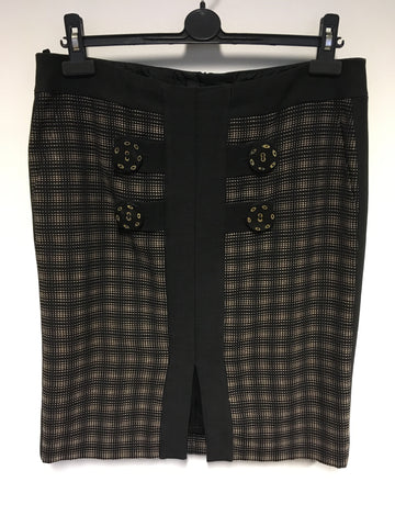 BRAND NEW JAEGER BLACK & BROWN CHECK STRAIGHT SKIRT SIZE 16