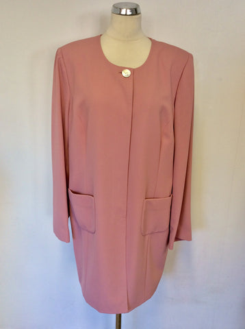 BRAND NEW ARTIGIANO ELEGANTE POWDER PINK FINE CREPE LONG JACKET SIZE 22