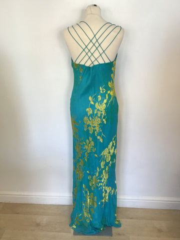 MONSOON TURQOUISE & GOLD FLORAL PRINT SILK BLEND MAXI DRESS SIZE 16