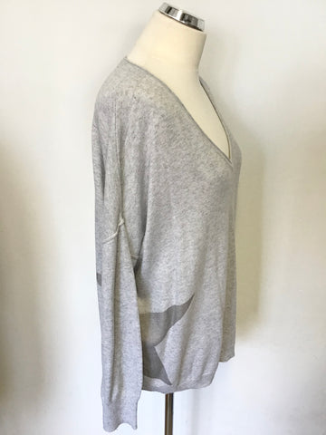 MINT VELVET LIGHT GREY STAR TRIM OVERSIZE JUMPER SIZE 14