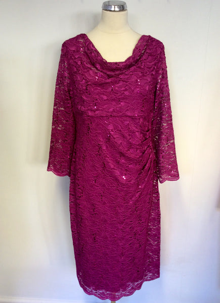 BRAND NEW GINA BACCONI FUSCHIA PINK SEQUIN LACE SPECIAL OCCASION DRESS SIZE 18