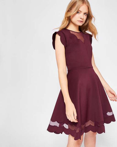 TED BAKER SHARLOT MAROON MESH INSERT SKATER DRESS SIZE 4 UK 14