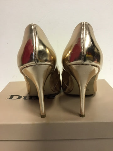 DUNE GOLD METALLIC PATENT POINTED TOE HEELS SIZE 7/40