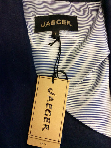 BRAND NEW JAEGER NAVY BLUE LINEN JACKET SIZE 18