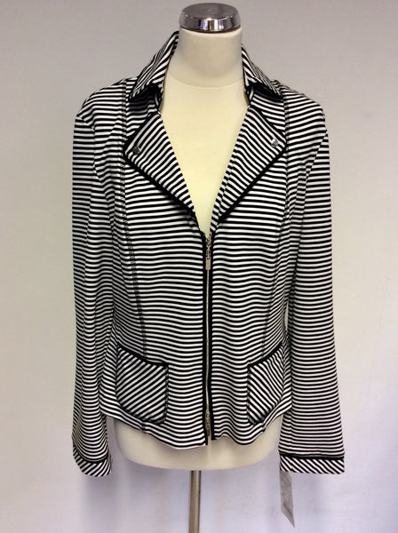 BRAND NEW JOSEPH RIBKOFF BLACK & WHITE STRIPED ZIP UP JACKET SIZE 14