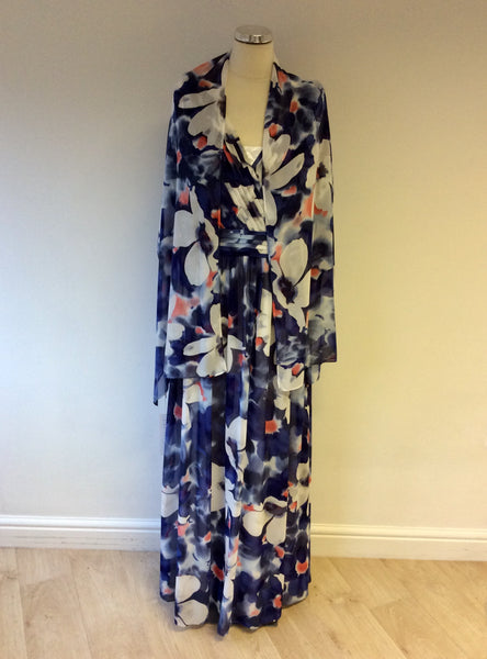 BRAND NEW GINA BACCONI FLORAL PRINT MAXI DRESS & MATCHING WRAP/SCARF SIZE 18