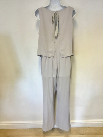 MINT VELVET DOVE GREY CAPE SLEEVELESS JUMPSUIT SIZE 14