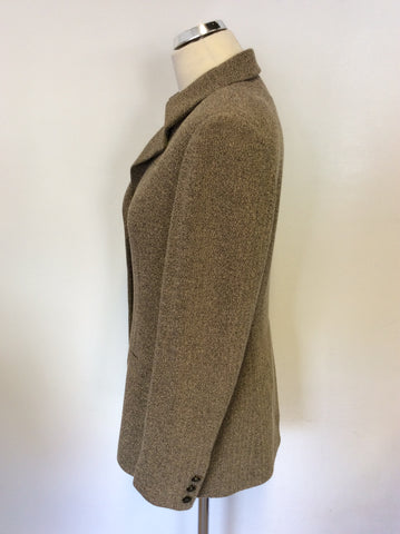GERRY WEBER BROWN HERRINGBONE TWEED JACKET SIZE 10