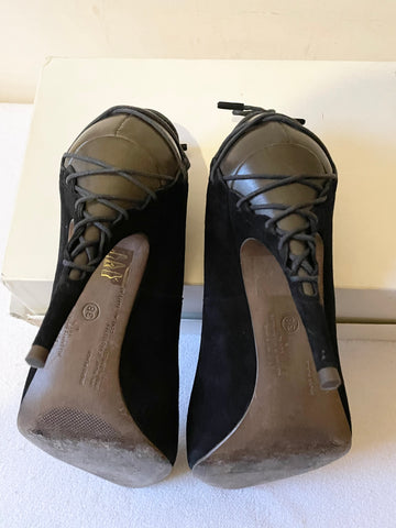 ALL SAINTS BLACK SUEDE & BROWN LEATHER LACE UP BACK HEELS SIZE 5/38