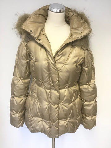 BETTY BARCLAY PALE GOLD 100% DOWN FILLED PADDED JACKET WITH RACOON FUR TRIM HOOD SIZE 8