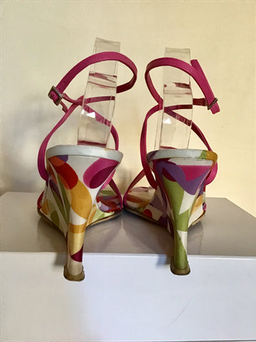 LK BENNETT PINK LEATHER & MULTI COLOURED PRINT WEDGE HEEL SANDALS SIZE 7/40