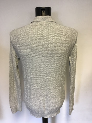 REISS LIGHT GREY COLLARED KNIT JUMPER SIZE M