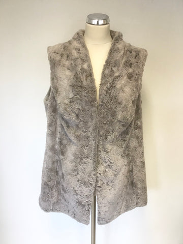 COTSWOLD COLLECTION GREY FAUX FUR GILET SIZE 18