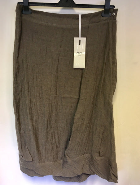 BRAND NEW CREA CONCEPT BROWN LINEN SKIRT SIZE 46 UK 18/20
