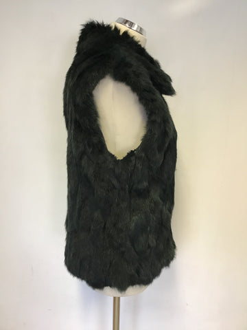 BLACK BY SAKS FIFTH AVENUE DARK GREEN DYED RABBIT FUR GILET SIZE M/L