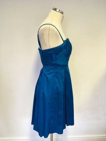 TED BAKER KINGFISHER COTTON STRAPLESS / STRAPPY OCCASION DRESS SIZE 1 UK 8