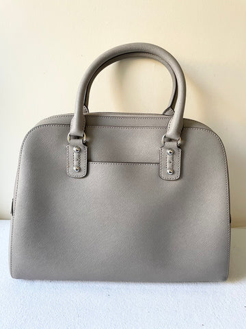BRAND NEW MICHAEL KORS LIGHT GREY LEATHER TOTE BAG WITH DETACHABLE SHOULDER STRAP