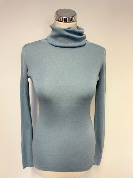 JIGSAW LIGHT BLUE SILK & COTTON FINE KNIT POLO NECK JUMPER SIZE S