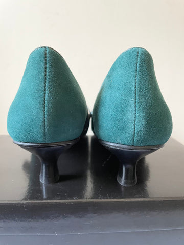 BRAND NEW JONES BOOTMAKER TEAL/ GREEN SUEDE MARY JANE KITTEN HEELS SIZE 7.5/41
