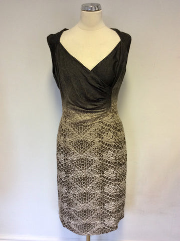 ALEXON BROWN PRINT LINEN SLEEVELESS DRESS SIZE 16