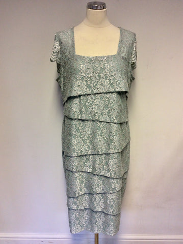 BRAND NEW GINA BACCONI LIGHT GREEN SPARKLE TIERED DRESS SIZE 18