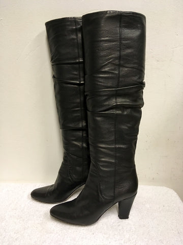 HOBBS BLACK LEATHER KNEE HIGH BOOTS SIZE 5/38