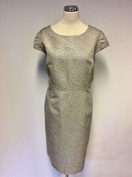 JAEGER SILVER & BLUE PRINT SPECIAL OCCASION PENCIL DRESS SIZE 18