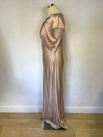 GHOST PALE PINK HOLLYWOOD WENDY TWIST FRONT LONG OCCASION DRESS SIZE L