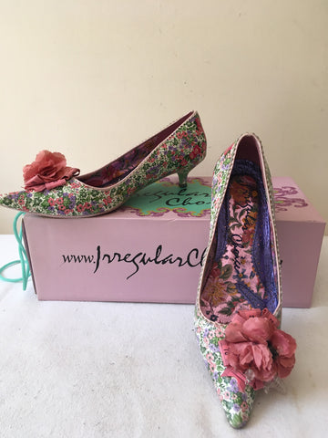 IRREGULAR CHOICE FLORAL PRINT WITH PINK FLOWER TRIM KITTEN HEELS SIZE 4/37