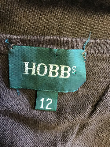 HOBBS BROWN SILK & COTTON SHORT SLEEVE CARDIGAN SIZE 12
