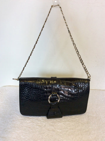 DOLCE & GABBANA BLACK LEATHER SILVER CHAIN STRAP SHOULDER BAG
