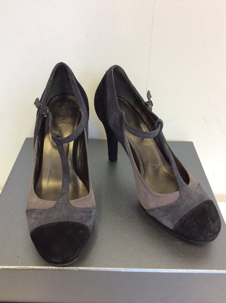 BODEN BLACK,GREY & BROWN SUEDE T BAR HEELS SIZE 4/37