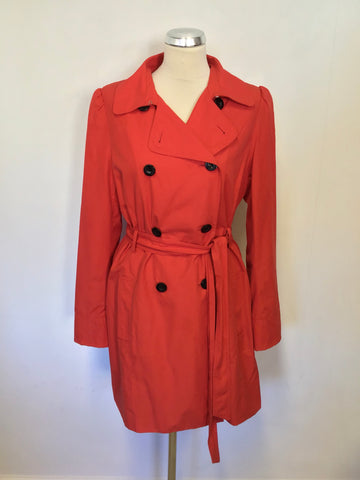 HOBBS RED DOUBLE BREASTED TIE BELT TRENCH COAT/ MAC SIZE 12