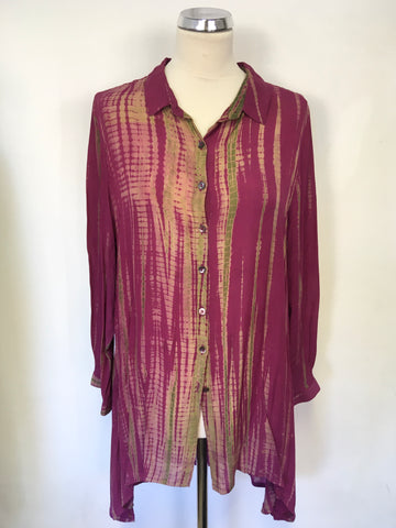 SAHARA DARK PINK WITH GREEN, BEIGE PRINT LONG SLEEVE OVER SHIRT SIZE M