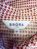 BRORA RED & WHITE PRINT COTTON LONG SLEEVE SHIRT SIZE 10