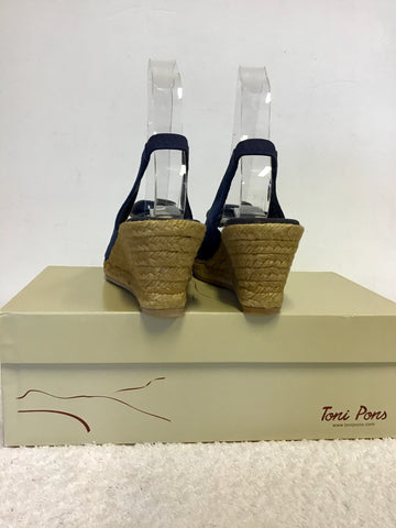 BRAND NEW TONI PONS BLUE LEATHER WEDGE HEEL SANDALS SIZE 4/37
