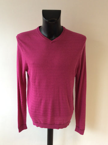 TED BAKER DEEP PINK V NECK WOOL BLEND JUMPER SIZE 5 UK L