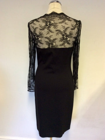 HOBBS INVITATION BLACK LACE SLEEVE PENCIL DRESS SIZE 10