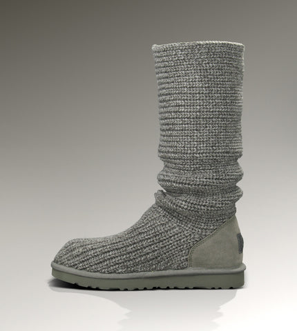 UGG GREY KNIT WOOL KNEE LENGTH BUTTON TRIM BOOTS SIZE 6.5/39