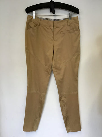 TED BAKER CAMEL ANKLE GRAZER ZIP TRIM TROUSERS SIZE 2 UK 12
