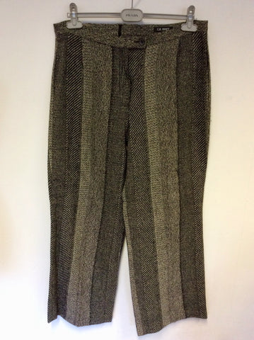 GIL BRET BEIGE & BLACK WOOL BLEND TROUSERS SIZE 18