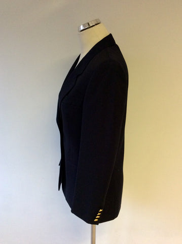 AQUASCUTUM BLACK WOOL BLAZER JACKET SIZE 10