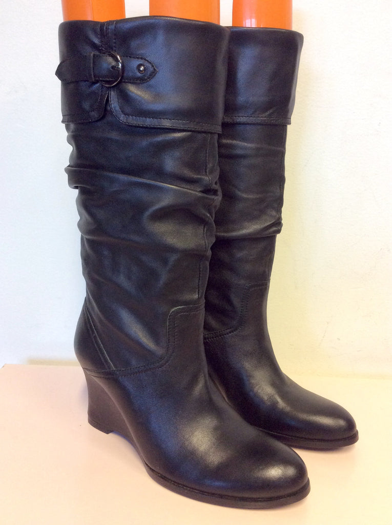 ac40ee5844d6 Brand New Staccato Black Leather Slouch Wedge Heel Boots Size 3.5 36 ...