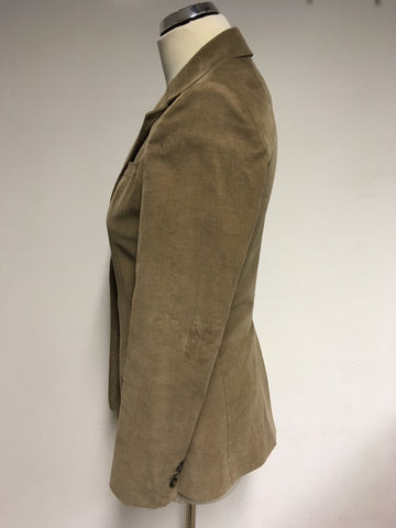 REISS ANGELO LIGHT BROWN CORDUROY FITTED JACKET SIZE XS